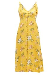 Rebecca Taylor Lita Floral Print Silk Blend Dress Yellow Multi