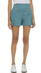Derek Lam Studded Shorts Light Denim