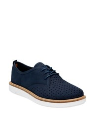 Clarks Glick Resseta Leather Oxfords Navy Blue