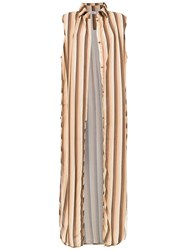 Amir Slama Striped Swimsuit Brown