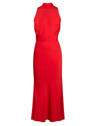 Alexander Mcqueen Ruffle Back High Neck Crepe Midi Dress Red