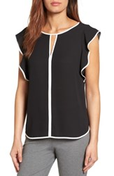 Vince Camuto Women's Contrast Piped Keyhole Blouse Rich Black