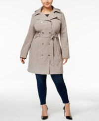 Calvin Klein Plus Size Hooded Softshell Trenchcoat Thistle