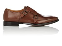 Barneys New York Leather Double Monk Strap Shoes Brown