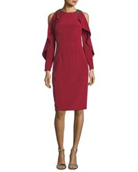 David Meister Split Ruffle Long Sleeve Embellished Cocktail Dress Garnet