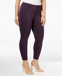 Celebrity Pink Trendy Plus Size Colored Wash Jeggings Potent Purple