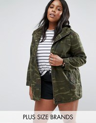 Brave Soul Plus Camo Jacket With Embroidery Khaki Green