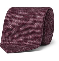 Drakes Drake's 8Cm Slub Wool Silk And Linen Blend Tie Burgundy