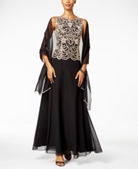 J Kara Beaded A Line Gown And Scarf Black Champagne