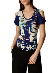 Karen Millen Printed Cut Out Shoulder Tee Blue Multi