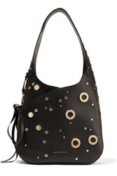 Alexander Mcqueen Embellished Leather Shoulder Bag Black