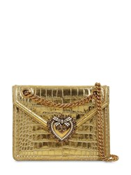 Dolce And Gabbana Devotion Croc Embossed Leather Bag Gold