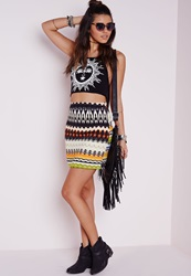Missguided Aztec Print Mini Skirt Multi