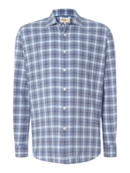 T.M.Lewin Poplin Check Casual Shirt Orange