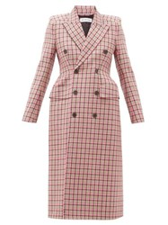 Balenciaga Hourglass Double Breasted Checked Wool Coat Pink Multi