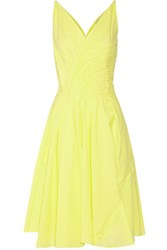 Nina Ricci Pleated Cotton Blend Dress Pastel Yellow