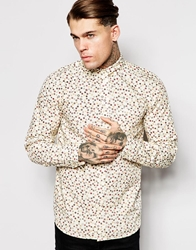 Wood Wood Printed Shirt Long Sleeve Microroses White
