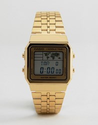 Casio Digital Map Watch In Gold A500wa 1Df Gold