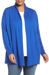 Sejour Plus Size Women's Shawl Collar Cardigan Blue Lapis