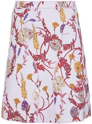 Giambattista Valli Floral Print Fitted Skirt Pink And Purple