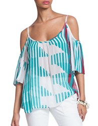 Plenty By Tracy Reese Printed Cold Shoulder Peasant Top Turquoise