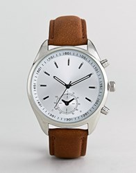 Burton Menswear Watch With Brown Strap In Silver