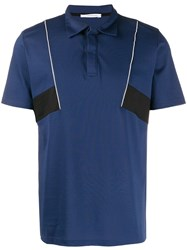 Low Brand Panelled Polo Shirt Blue