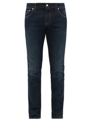 Dolce And Gabbana Crown Logo Embroidered Slim Leg Jeans Blue