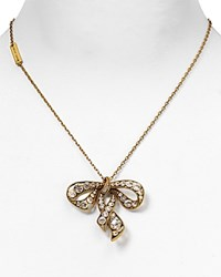Marc Jacobs Bow Necklace 16 Crystal Antique Gold