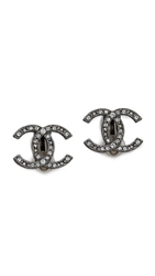 Wgaca Vintage Chanel Crystal Turnlock Earrings Clear