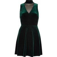 River Island Womens Dark Green Velvet Choker Mesh Skater Dress