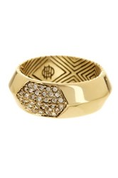 House Of Harlow Pave White Crystal Inset Ring Size 6 Metallic