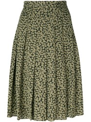 Michael Michael Kors Embroidered Pleated Skirt Women Silk Polyester 10 Green