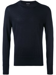 Tom Ford Long Sleeve Cashmere Sweater Men Cashmere 52 Blue