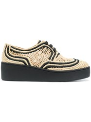 Robert Clergerie Contrast Woven Sneakers Nude And Neutrals