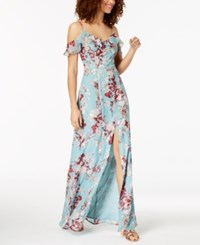 Emerald Sundae Juniors' Floral Cold Shoulder Maxi Dress Turquoise Ivory