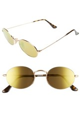 Ray Ban Women's 51Mm Round Sunglasses Gold Brown Mirror Gold Brown Mirror