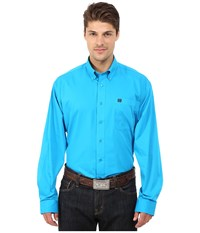 Cinch Long Sleeve Solid Plain Weave Turquoise Men's Long Sleeve Button Up Blue