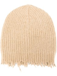 Msgm Frayed Ribbed Beanie Nude And Neutrals