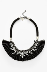 Berry Ruffled Faux Leather Bib Necklace Black