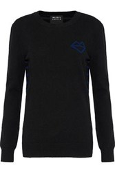 Markus Lupfer Natalie Paneled Intarsia Wool And Cashmere Blend Sweater Black