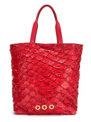 Osklen Leather Tote Bag Women Fisher One Size Red