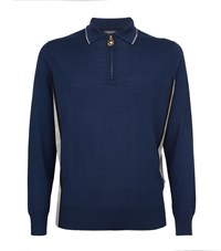 Stefano Ricci Contrast Panel Knitted Polo Shirt Blue