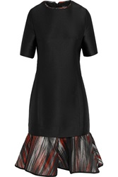 Ostwald Helgason Jacquard Paneled Satin Twill Dress Black