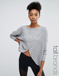 Y.A.S Tall Wrap Front Soft Knit Jumper Grey