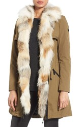 Dawn Levy Women's 'Mackenzie' Parka With Genuine Fox Fur Trim Khaki