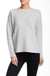 Vince Honeycomb Crew Neck Wool Blend Sweater Gray