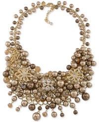Carolee Gold Tone Crystal And Imitation Pearl Cluster Necklace