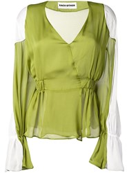 Each X Other Shoulder Pads Blouse Green
