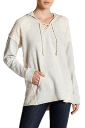 Love Stitch Long Sleeve Lace Up Hoodie Gray